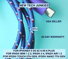 Braided USB data Sync power cord Charger Cable for iPhone X 8 7 plus 6 5s iPod 5