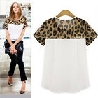 New Women Leopard Printing Chiffon Casual Short T-Shirt Tops Blouse Reliable