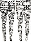 New Womens Aztec Print Tribal Black White Full Ladies Pants Long Leggings 8 - 14