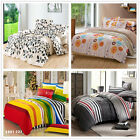 New Striped/Floral Double/Queen/King Size Bed Quilt/Doona/Duvet Cover Set Cotton