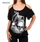 BANNED Goth Vest Top SKULL WATCH Roses Floaty All Sizes