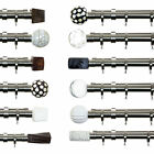 28mm Dia Double Layering Curtain Pole Brushed Silver 120-180cm - Finial Options