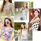 Floral Womens Korean Dot Nice Cute Chiffon Vest Top Tank Sleeveless Shirt Blouse