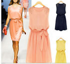 NEW Womens Chiffon Handmade Bead Shoulder Bow Belt Sleeveless Pleated Vest Dress