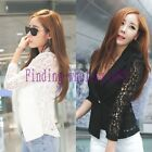 Hot Women Long Sleeve Lace Crochet Lapel Blazer Short Jacket Suit Blouse Coat