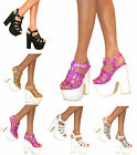 LADIES WOMENS PLATFORM HIGH CHUNKY HEEL PEEP TOE ANKLE STRAP SANDALS SHOES SIZE