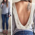 Women's Sexy Open V Backless Crochet Lace Tee Shirt Blouse Top Casual Party Club
