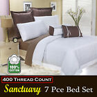 7 Pce Sanctuary White 400TC Quilt Cover + 2Pcases +2Euros + 2Cushions QUEEN KING