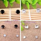 NO EAR HOLE UNISEX PRETTY 8MM ROUND CZ CRYSTAL STUDS MAGNETIC EARRINGS 1 PAIR