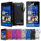 NEW S LINE WAVE GEL CASE COVER + SCREEN PROTECTOR FOR HTC 8S