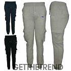 Mens Fleece Lined DLX Project Jogging Pants Mens Polycotton Cargo Joggers Pants