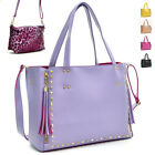 New Women Leather Handbag Gold Tone Studded 2 in 1 Tote Bag Satchel with Tassels