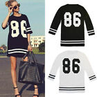 Hot Sale! Fashion Women Oversized Baseball No.86 Loose Dress New Reliable Hot
