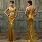 2015 New Sequins Long Mermaid Formal Evening Gown Party Prom Dresses Sexy V Neck