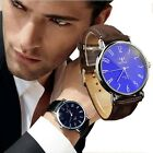 Luxury Mens Business Faux Leather Blue Ray Glass Quartz Analog Watches Trusty