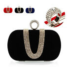 New Womens Velvet Rhinestone Clutch Evening Handbag Wedding Shoulder Bag Purse