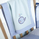 STRIPE NAUTICAL SHIP MATE WHALE EMBROIDERED NURSERY PRAM CRIB BABY BLANKET BLUE