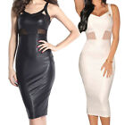 Summer Sleeveless Knee-Length Faux Leather PU Mesh Accent Cocktail Midi Dress