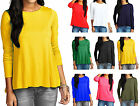 Womens Long Sleeve Swing Top Ladies A Line Flare Plain Casual Top Size 8-14