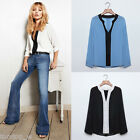 Hot Stylish Women V-Neck Chiffon Blouse Long Sleeve Loose Casual Shirt Tops