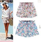 2015 New Ladies Girls Casual Elastic waist Floral Shorts pants au Size 8-16