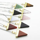 Natural Gemstones Triangle Pointed Chakra Healing Reiki Pendant Chain Necklace