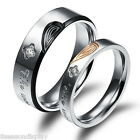 1 PC Stainless Steel Ring Couple Rings Band Carved Rhinestone Wedding