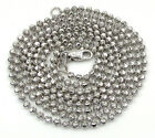 """24-30"""" 2mm 10k White Gold Combat Moon Cut Bead Ball Chain Necklace Mens Ladies"""