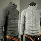 New Mens Stretch Knitted Roll High Turtle Polo Neck Casual Sweater Jumper Tops
