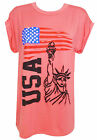 Ladies USA Love Casual T Shirt Womens Loose Jersey Butterfly Rose Tee Top 8-20