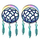 Pair of Double Flared Rainbow stainless steel Dream Catcher Ear Tunnels Plugs
