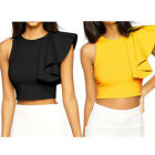 Elegant Women One-shoulder Ruffle Back Zip Party Evening Cocktail Club Crop Top