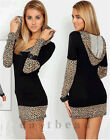 2015 Hot Fashion Leopard Hoodies Slim Casual Long Sleeve Sweater Mini Dress