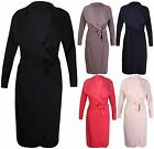 Womens Long Sleeve Ladies Stretch Pocket Belt Draped Jacket Cardigan Trench Coat