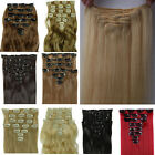UK Real Thick 8 PCS 18 Clips Full Head Clip In Hair Extensions Curly Wavy Brown