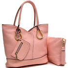 Women Handbag 2 in 1 Satchel Structured Gold Tone Shoulder Bag with Coin Pouch