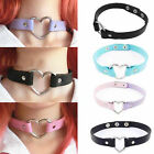 Chic Harajuku Punk Goth Handmade Chain Leather Heart Collar Choker Necklace A