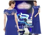 NWT CARLY Cobalt Blue Lace Full Length Prom Evening Cruise Ballgown Dress 6 - 18