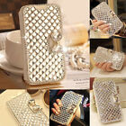 Crystal Diamond PU Leather Wallet Flip Case Cover for Samsung S6 iPhone 5 6 6P