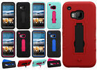 For HTC One M9 IMPACT Hard Rubber Case Phone Cover Kickstand Accessory