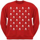 Skull And Crossbones Snowy Ugly Christmas Sweater Red Adult Sweatshirt