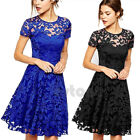 New Fashion Women Floral Lace Short Sleeve Cocktail Evening Party Casual Dress