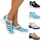Womens Girls Gladiator Retro Jelly Sandals Buckle Block Mid Heel Beach Shoes