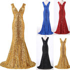 GK Mermaid Sexy Bodycon Formal Long Women Sequins Cocktail Party Evening Dresses