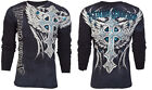 Xtreme Couture AFFLICTION Mens THERMAL T-Shirt PANTHER Tattoo Biker MMA $58 image