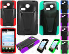 For LG Sunrise L15G Advanced Layer HYBRID KICKSTAND Rubber Phone Case Cover