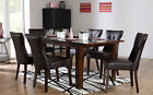 Java & Bewley Extending Dark Wood Dining Table & 4 6 Leather Chairs Set (Brown)