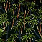 Hawaiian Tropical Print Cotton Fabric, Stunning Asian Bamboo on Black