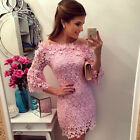 FREE SHIP NEW Lady SEXY Off Shoulder Lace Evening Cocktail Prom Party Mini Dress