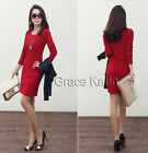 CHEAP SALE Women SEXY WEAR TO WORK Coctail Shift Pencil PARTY Dress Black Red ~